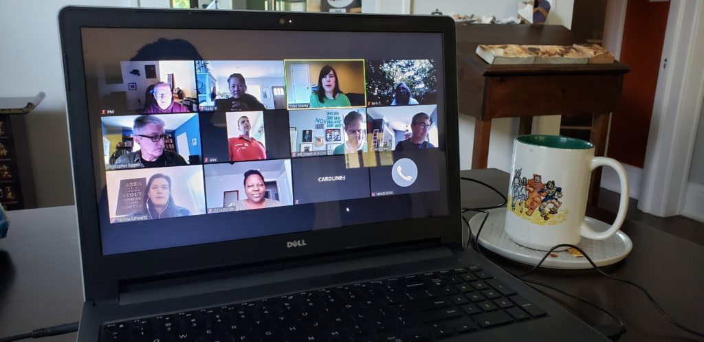 Computer screen showing a zoom call with Trees Atlanta staff and volunteers
