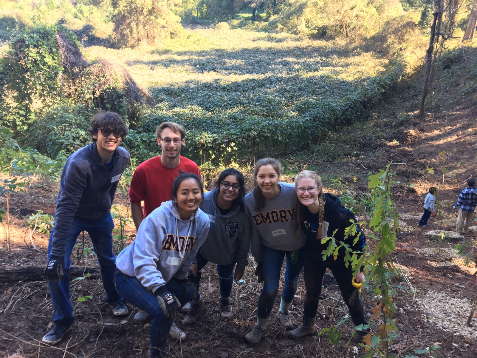 Megan Johnston volunteering with Emory students